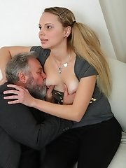 There's nothing like getting a babe with pigtails to suck your cock. And this is exactly what the old guy in this video was thinking as she went
