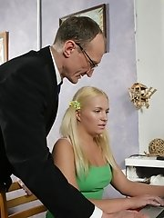 Horny old professor sticks his hard dick into a cute young blonde's juicy teen ass